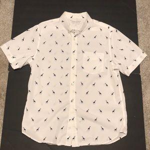 Banana Republic Luxe Poplin Giraffe print ss shirt